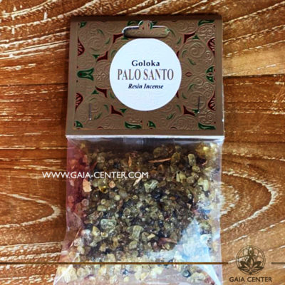 Incense Resin Palo Santo by Goloka for smudging and space clearing ceremonies. 1 pack contains 30g. of resin. Aroma Incense Resins selection at Gaia Center in Cyprus.