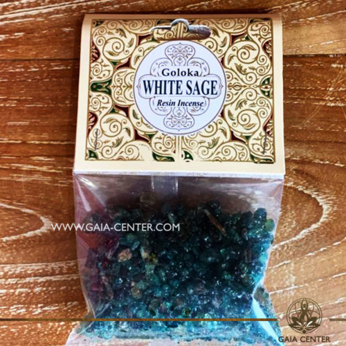 Incense Resin White Sage by Goloka for smudging and space clearing ceremonies. 1 pack contains 30g. of resin. Aroma Incense Resins selection at Gaia Center in Cyprus.