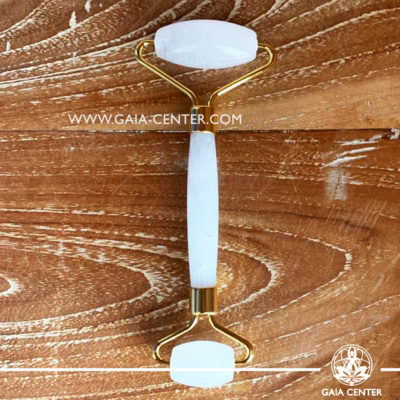 Clear Crystal Quartz Massage Face Roller. Crystal and Gemstone Collection at Gaia Center   Cyprus.