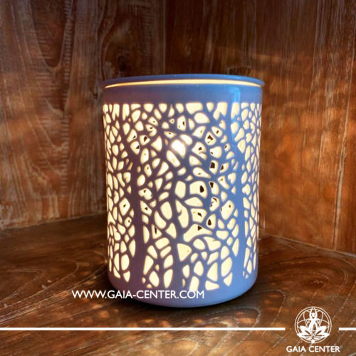 Electric Aroma Essential Oil Burner - White Ceramic with Tree Design. Oil burners and wax melts selection at Gaia Center in Cyprus.