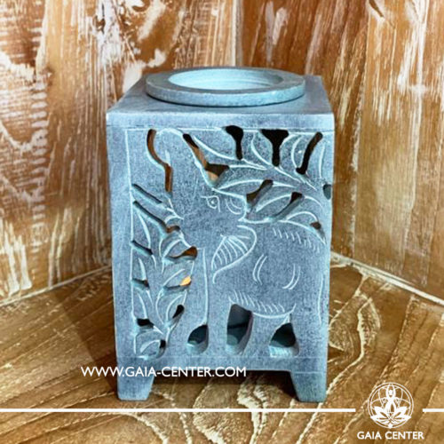 Aroma Essential Oil Burner - Natural Soap stone grey color with Elephant cut design. Oil burners and wax melts selection at Gaia Center in Cyprus.