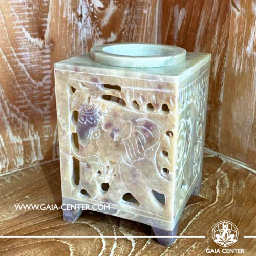 Aroma Essential Oil Burner - Natural Soap stone cream color with Elephant cut design. Oil burners and wax melts selection at Gaia Center in Cyprus.