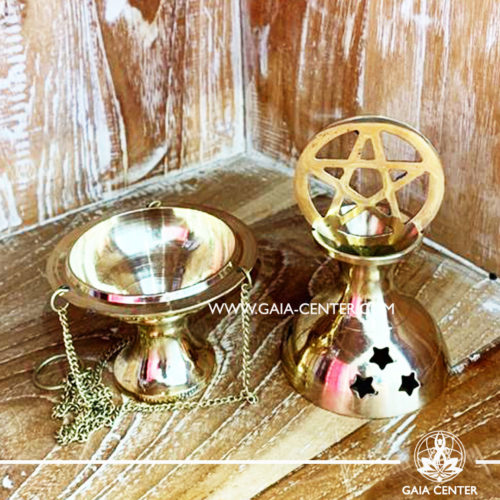 Metal incense burner or censer is ideal for burning loose incense or resins, incense cones. Star Pentagram design and a convenient chain for hanging. Selection of incense burners, aroma resins and smudge sticks for ceremonies and rituals at GAIA CENTER in Cyprus.
