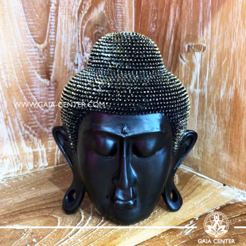Buddha Head Decor ornament 17cm tall black and gold finishing. Buddha statues and buddhist items selection at Gaia Center in Cyprus.