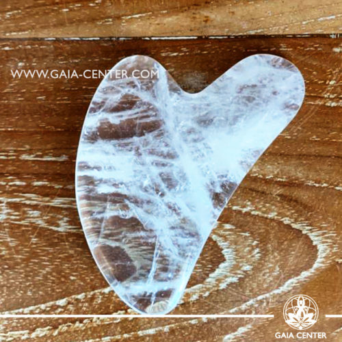 Gua Sha Clear quartz massage stone. Crystal and Gemstone Collection at Gaia Center   Cyprus.