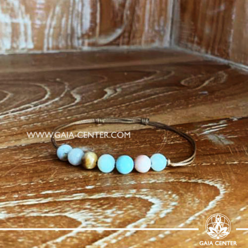 Crystal Bracelet amazonite with 7 amazonite gemstone beads. Adjustable string in size. Crystal and Gemstone Jewellery Selection at Gaia Center in Cyprus.