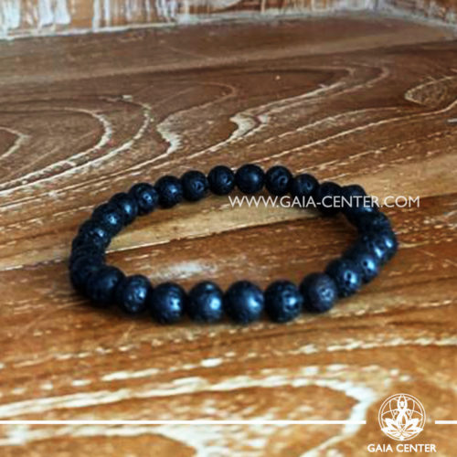 Bracelet Lava Rock with Elastic string- made with black lava stone beads. Crystal and Gemstone Jewellery Selection at Gaia Center in Cyprus.