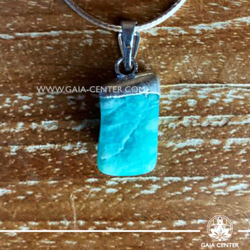 Gemstone pendant - Amazonite with metal cap design and adjustable cord. Crystal and Gemstone Jewellery selection at GAIA CENTER in Cyprus.