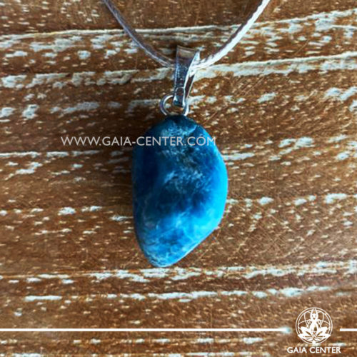 Gemstone pendant - Apatite with metal simple zen design and adjustable cord. Crystal and Gemstone Jewellery selection at GAIA CENTER in Cyprus.