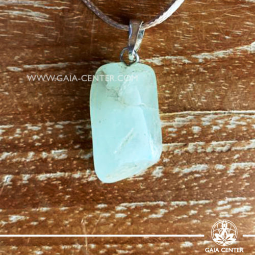 Crystal pendant - Aquamarine with metal simple zen design and adjustable cord. Crystal and Gemstone Jewellery selection at GAIA CENTER in Cyprus.