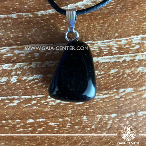 Gemstone pendant - Black obsidian with metal simple zen design and adjustable cord. Crystal and Gemstone Jewellery selection at GAIA CENTER in Cyprus.