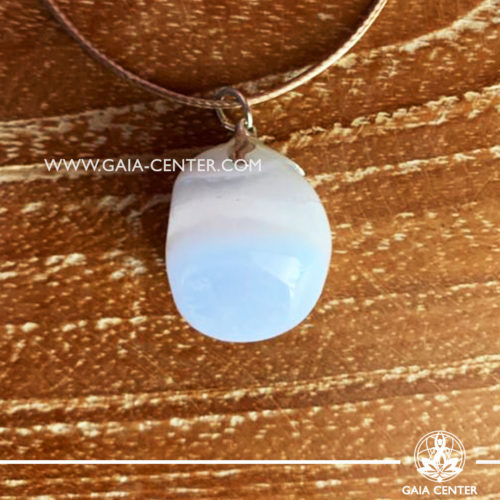 Gemstone pendant - Chalcedony with metal flower design with adjustable cord. Crystal and Gemstone Jewellery selection at GAIA CENTER in Cyprus.