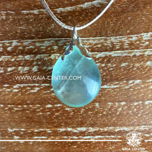 Crystal pendant - Green Fluorite with metal flower design with adjustable cord. Crystal and Gemstone Jewellery selection at GAIA CENTER in Cyprus.