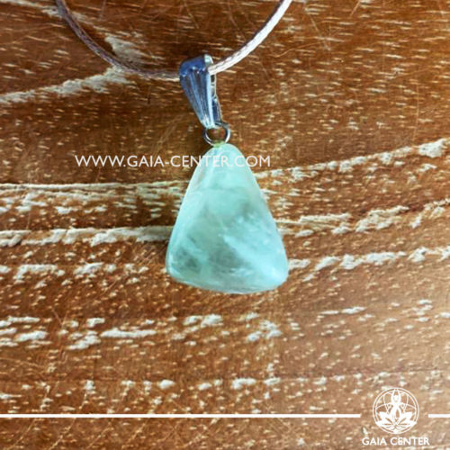 Crystal pendant - Green Fluorite simple design with adjustable cord. Crystal and Gemstone Jewellery selection at GAIA CENTER in Cyprus.