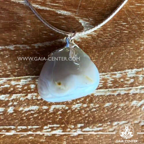 Crystal pendant - Grey Agate with metal flower design with adjustable cord. Crystal and Gemstone Jewellery selection at GAIA CENTER in Cyprus.