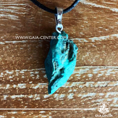Gemstone pendant - Malachite Rough with metal simple zen design and adjustable cord. Crystal and Gemstone Jewellery selection at GAIA CENTER in Cyprus.