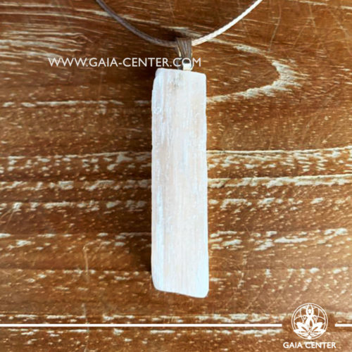 Crystal pendant - Orange Selenite Raw with metal simple zen design and adjustable cord. Crystal and Gemstone Jewellery selection at GAIA CENTER in Cyprus.
