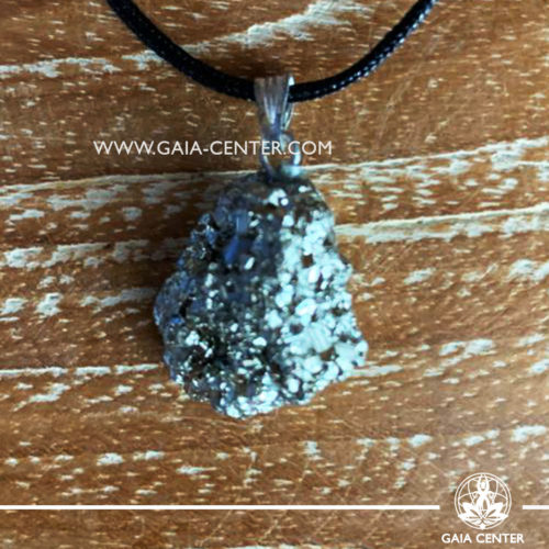 Gemstone pendant - Pyrite Rough with metal simple zen design and adjustable cord. Crystal and Gemstone Jewellery selection at GAIA CENTER in Cyprus.