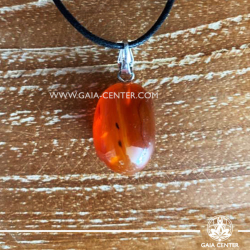 Gemstone pendant - Red Agate simple design with adjustable cord. Crystal and Gemstone Jewellery selection at GAIA CENTER in Cyprus.