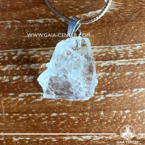 Gemstone pendant - Rock Crystal Quartz Rough with metal simple zen design and adjustable cord. Crystal and Gemstone Jewellery selection at GAIA CENTER in Cyprus.