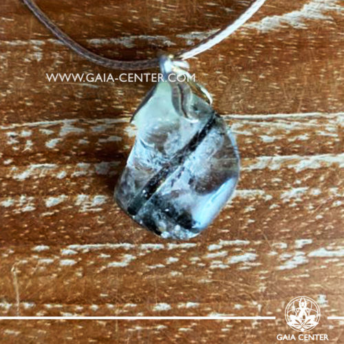 Crystal pendant - Tourmaline Quartz with metal flower design and adjustable cord. Crystal and Gemstone Jewellery selection at GAIA CENTER in Cyprus.