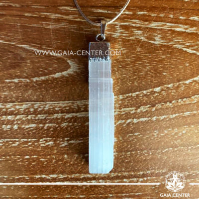 Crystal pendant - Selenite White Rough with metal cap design with adjustable cord. Crystal and Gemstone Jewellery selection at GAIA CENTER in Cyprus.