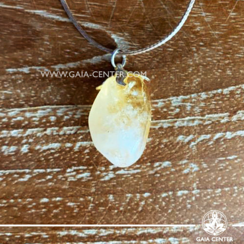 Crystal pendant - Yellow Citrine with metal flower design with adjustable cord. Crystal and Gemstone Jewellery selection at GAIA CENTER in Cyprus.