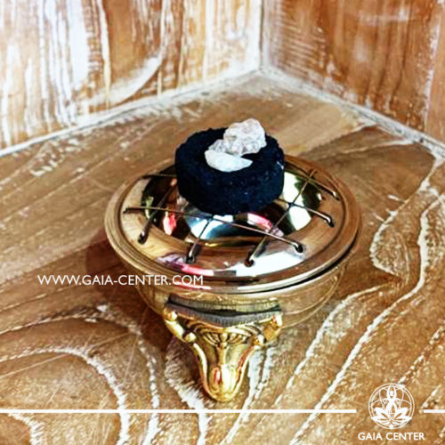 Brass incense burner is ideal for burning loose incense or resins. Selection of incense burners, aroma resins and smudge sticks for ceremonies and rituals at GAIA CENTER in Cyprus.