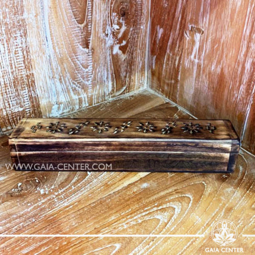 Incense Holder Box or Ash Catcher for incense sticks. Made from mango wood with artistic design. Incense burners selection at Gaia Center   Cyprus.