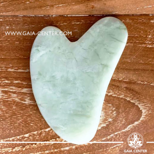 Gua Sha Jade green massage stone. Crystal and Gemstone Collection at Gaia Center   Cyprus.