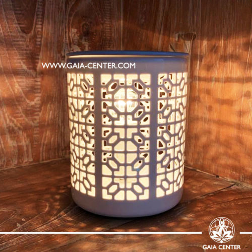 Electric Aroma Essential Oil Burner - White Ceramic with Elegant Design. Oil burners and wax melts selection at Gaia Center in Cyprus.