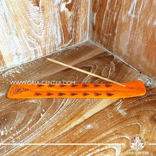 Incense Holder or Ash Catcher for incense sticks. Made from wood with artistic colored design. Incense burners selection at Gaia Center   Cyprus.