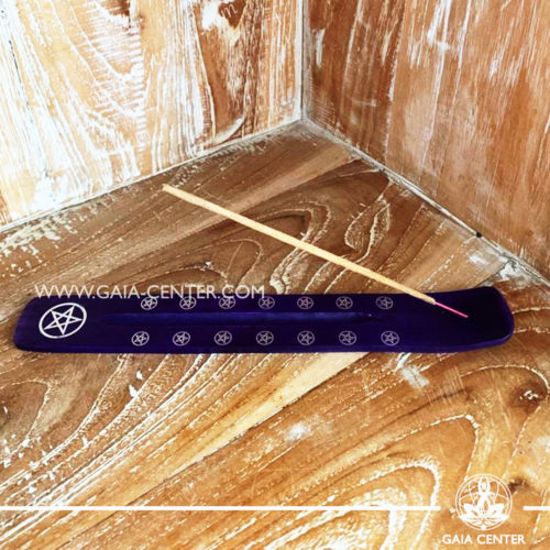 Incense Holder or Ash Catcher for incense sticks. Made from wood with artistic colored design. Incense burners selection at Gaia Center | Cyprus.