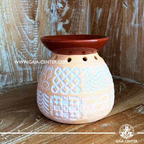 Essential Oil Burner or Wax Melt Burner - Ceramic Natural Brown & White colors Marrakech style. Aroma diffusers and oil burners selection at Gaia Center in Cyprus.