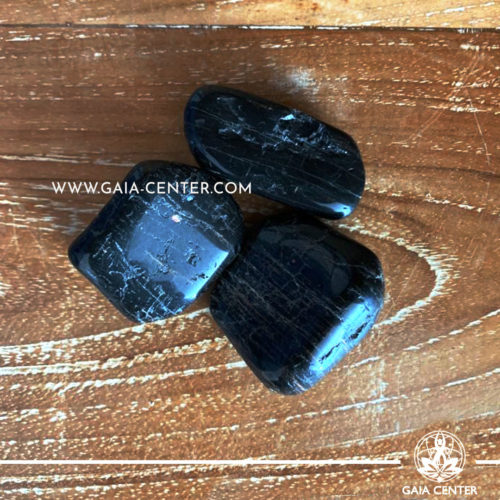 Black Tourmaline Tumbled Stones 30-40-50mm size. Crystals and Gemstone selection at GAIA CENTER | Cyprus.