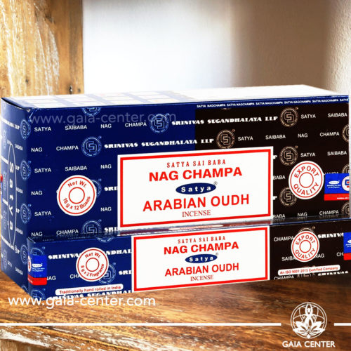 Incense Sticks pack 15g Nag Champa and Arabian Oudh combo mix by Satya. Incense Sticks and Incense Burners selection at Gaia Center in Cyprus.