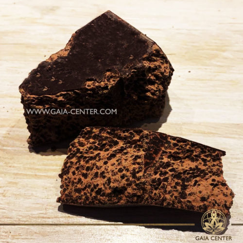 Raw Cacao mass 100% for ceremonial or ritual chocolate drinks. Raw Cacao Selection at Gaia Center in Cyprus.