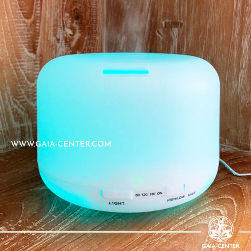 Aroma Diffuser Ultrasonic Humidifier for essential and aroma oils. White Design with 500ml water capacity. Selection of Aroma Humidifiers and Aromatic Essential Oils at Gaia Center in Cyprus.