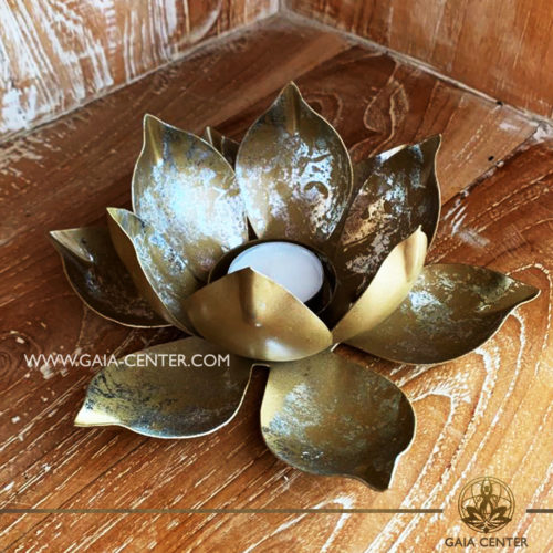 Atmospheric light -Candle holder Tea-Light Lotus Flower Design. Iron metal and vintage gold color design, 8x20cm large size. Suitable for burning tealights and votive candles Selection of home decor items at Gaia Center in Cyprus.