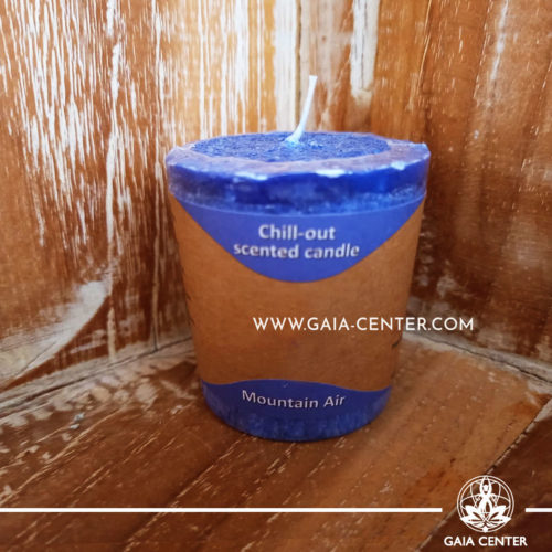 Natural Aroma Scented Perfumed votive candle - Mountain Air fragrant mix in Blue color. Made from 100% vegetable palm wax from sustainable farming. Scented with essential oils: sandalwood, cedar, rosemary. Natural Atmospheric chill-out candles selection at Gaia Center in Cyprus.