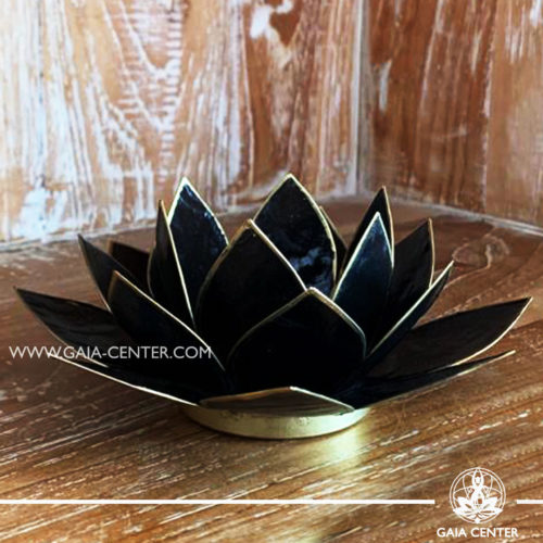 Natural Seashell Capiz Candle holder Tea-Light Lotus Flower Design. Black Color with gold color trim. Size: 13.5cm. Selection of home decor items at Gaia Center in Cyprus.