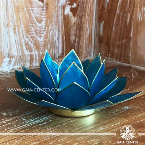 Natural Seashell Capiz Candle holder Tea-Light Lotus Flower Design. Blue Color with gold color trim. Size: 13.5cm. Selection of home decor items at Gaia Center in Cyprus.
