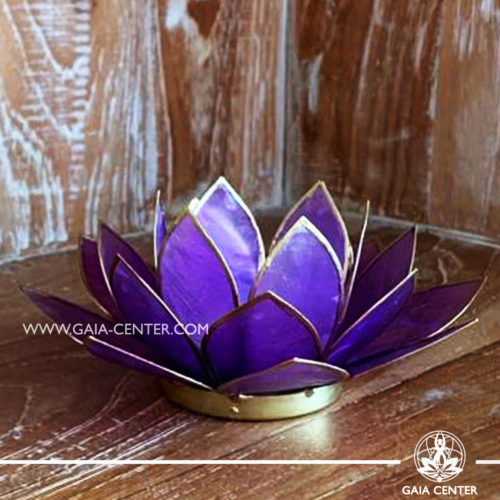Natural Seashell Capiz Candle holder Tea-Light Lotus Flower Design. Lilac Color with gold color trim. Size: 13.5cm. Selection of home decor items at Gaia Center in Cyprus.