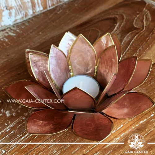 Natural Seashell Capiz Candle holder Tea-Light Lotus Flower Design. Beige Color with gold color trim. Size: 13.5cm. Selection of home decor items at Gaia Center in Cyprus.