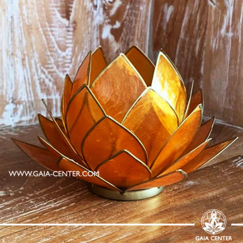 Natural Seashell Capiz Candle holder Tea-Light Lotus Flower Design. Orange Color with gold color trim. Large size: 15cm. Selection of home decor items at Gaia Center in Cyprus.