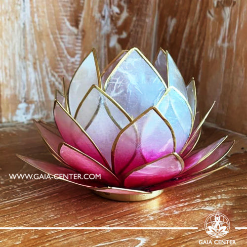 Natural Seashell Capiz Candle holder Tea-Light Lotus Flower Design. Pink Color with gold color trim. Large size: 15cm. Selection of home decor items at Gaia Center in Cyprus.