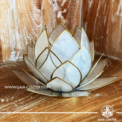 Natural Seashell Capiz Candle holder Tea-Light Lotus Flower Design. Natural Color with gold color trim. Large size: 15cm. Selection of home decor items at Gaia Center in Cyprus.