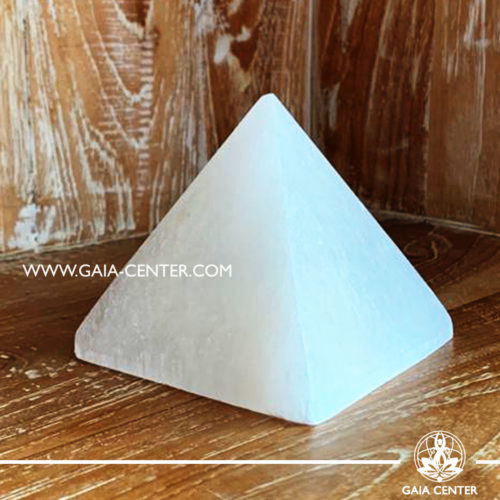 Selenite white crystal pyramid. Large size. Crystals and Gemstone selection at GAIA CENTER | Cyprus.