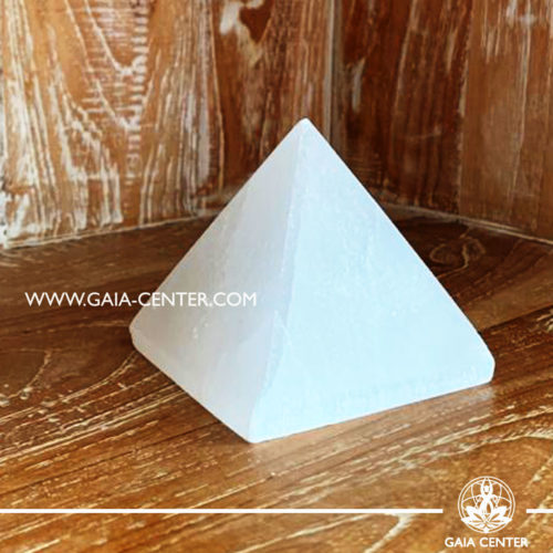 Selenite white crystal pyramid. Medium size. Crystals and Gemstone selection at GAIA CENTER | Cyprus.