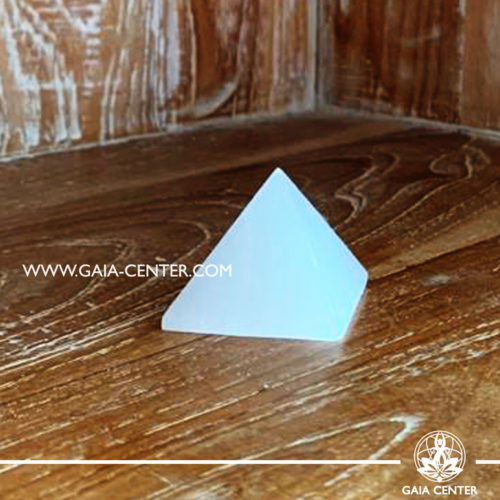 Selenite white crystal pyramid. Small size. Crystals and Gemstone selection at GAIA CENTER | Cyprus.
